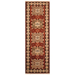 Handmade Kazak Wool Rug (India) - 2'3 x 6'7