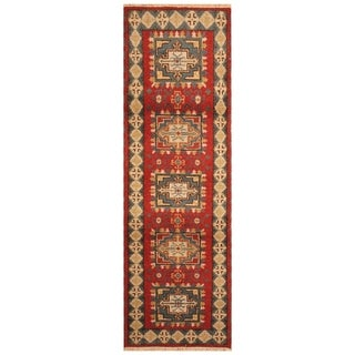 Handmade Kazak Wool Rug (India) - 2'1 x 6'6