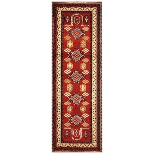Handmade Kazak Wool Rug (India) - 2'3 x 6'8