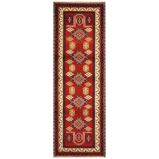 Handmade Kazak Wool Rug (India) - 2'3 x 6'8
