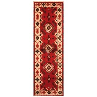Handmade Kazak Wool Rug (India) - 2'2 x 6'8