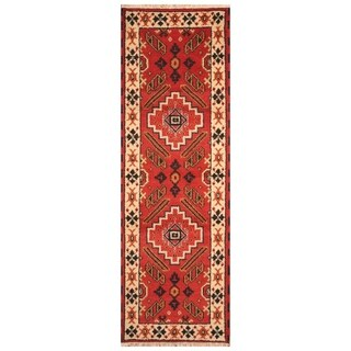 Handmade Kazak Wool Rug (India) - 2'2 x 6'6