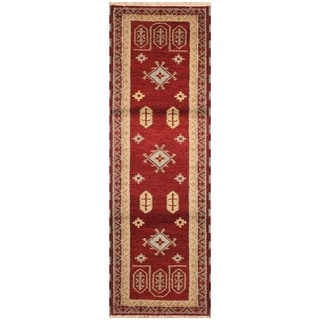 Handmade Kazak Wool Rug (India) - 2'2 x 6'8