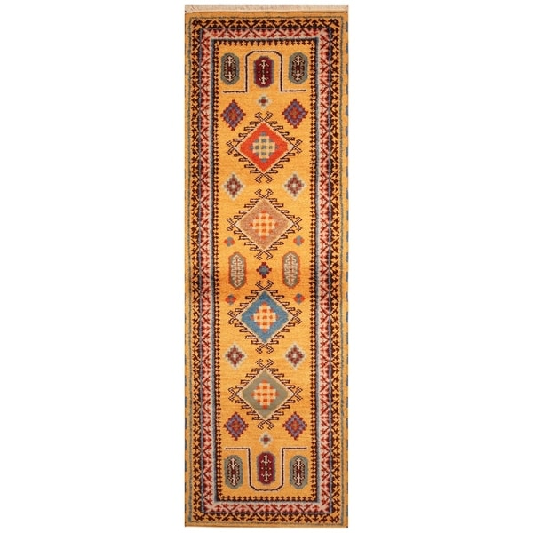 Handmade Kazak Wool Rug (India) - 2'2 x 6'9