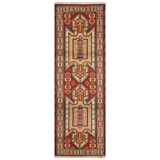 Handmade Kazak Wool Rug (India) - 2'2 x 6'6