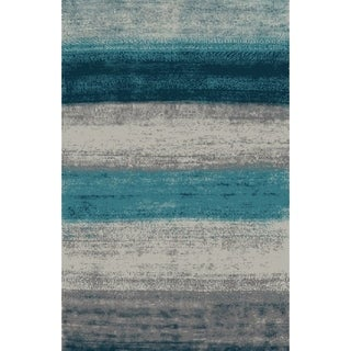 "Blue Abstract Area Rug 8x11 - 7'6"" x 10'3"""