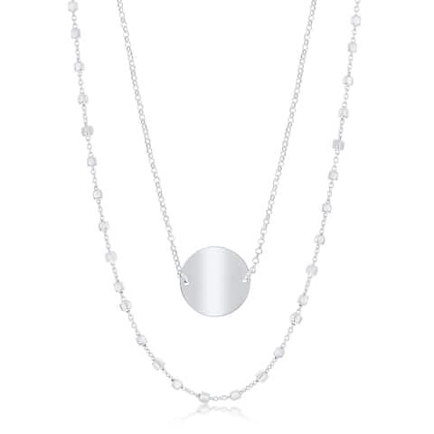 La Preciosa Sterling Silver Italian Double Strand by the Yard & Shiny Disc 17+1'' Necklace