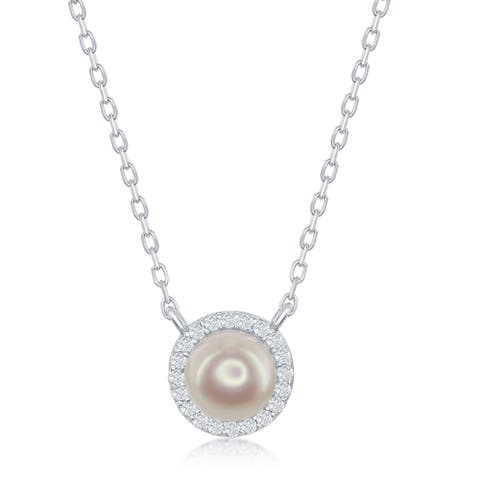 La Preciosa Sterling Silver Created Pearl w/ Cubic Zirconia Border 18'' Necklace