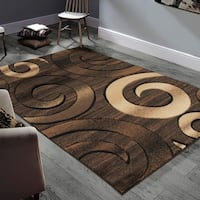 "Allstar Rugs Hand-Carved Chocolate and Espresso Rectangular Accent Area Rug with Mocha Abstract Swirl Design - 7' 11"" x 9' 11"""