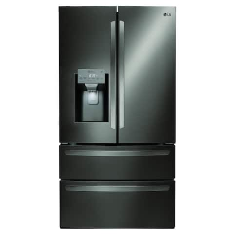"LG LMXS28626D 28 cu.ft. Smart wi-fi Enabled French Door Refrigerator Black Stainless Steel - 7'10"" x 10'6"""