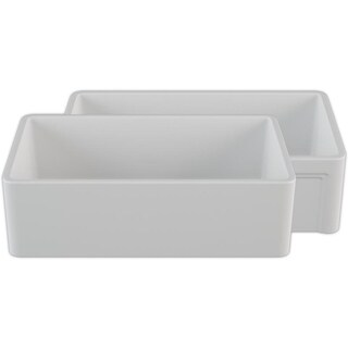 """Crestwood 33"""" Fireclay Sink-Reversible Smooth/Casement Design-White"""