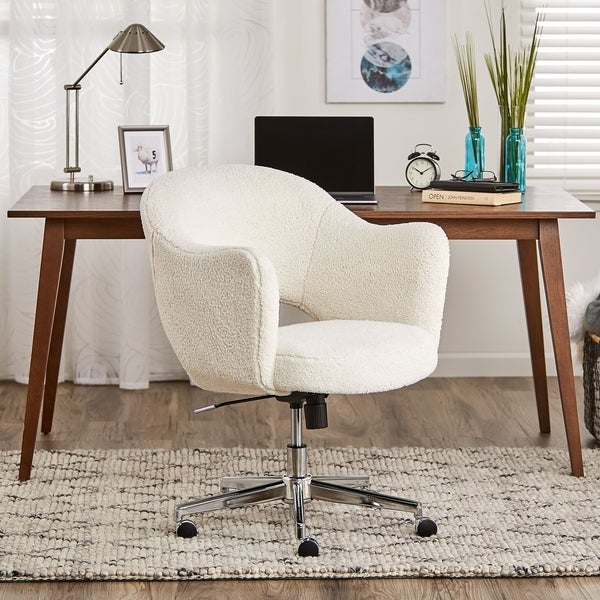 Serta Style Valetta Home Office Chair, Faux Shearling Wool
