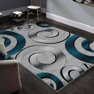 "Allstar Rugs Hand-Carved Grey and White Rectangular Accent Area Rug with Turquoise Abstract Swirl Design - 6' 11"" x 4' 11"""