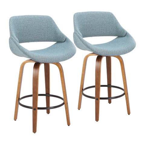Carson Carrington Svellingen Counter Stool with Round Black Footrest (Set of 2) - N/A