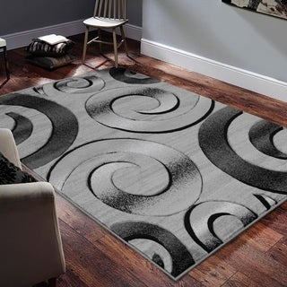 """Allstar Rugs Hand-Carved Grey and White Rectangular Accent Area Rug with Charcoal Grey Abstract Swirl Design - 9' 8"""" x 7' 5"""""""