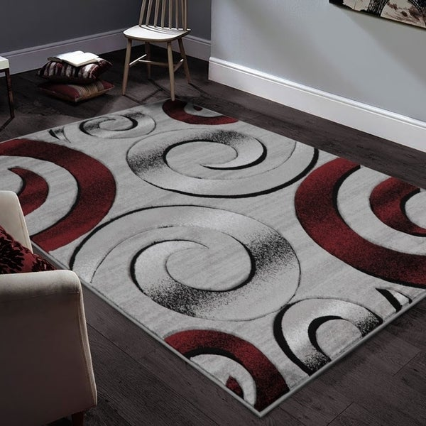 Shop Allstar Rugs Hand Carved Grey And White Rectangular