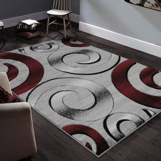 """Allstar Rugs Hand-Carved Grey and White Rectangular Accent Area Rug with Red Abstract Swirl Design - 9' 8"""" x 7' 5"""""""