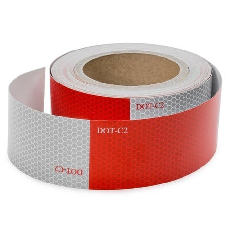 ALEKO Reflective Red and White Safety Tape 2 Inch x 50 Feet - 2 inch x 50 Feet