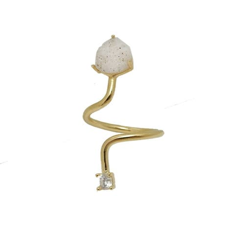 Natural Druzy Heart Drop and Natural Rhinestone Adjustable Ring with Gold Band