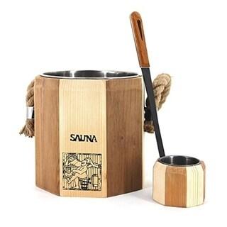 ALEKO Sauna Accessory 1.8 Gallons Wooden Bucket and Poplar Water Scoop