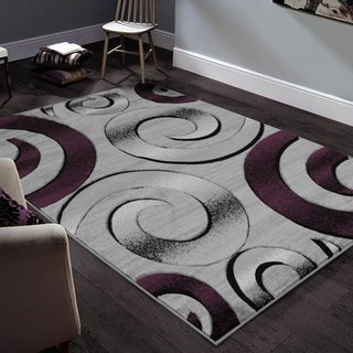 """Allstar Rugs Hand-Carved Grey and White Rectangular Accent Area Rug with Purple Abstract Swirl Design - 9' 8"""" x 7' 5"""""""