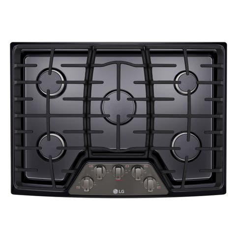 "LG LCG3011BD 30"" Gas Cooktop with SuperBoil Black Stainless Steel"