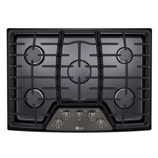 """LG LCG3011BD 30"""" Gas Cooktop with SuperBoil Black Stainless Steel"""