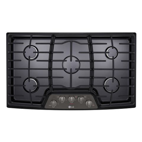 """LG LCG3611BD 30"""" Gas Cooktop with SuperBoil Black Stainless Steel"""