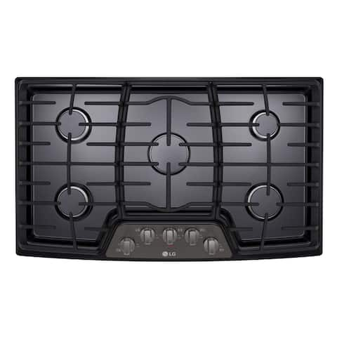 "LG LCG3611BD 30"" Gas Cooktop with SuperBoil Black Stainless Steel"
