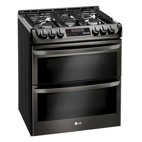 LG LTG4715BD 6.9 cu. ft. Smart wi-fi Enabled Gas Double Oven Black Stainless Steel