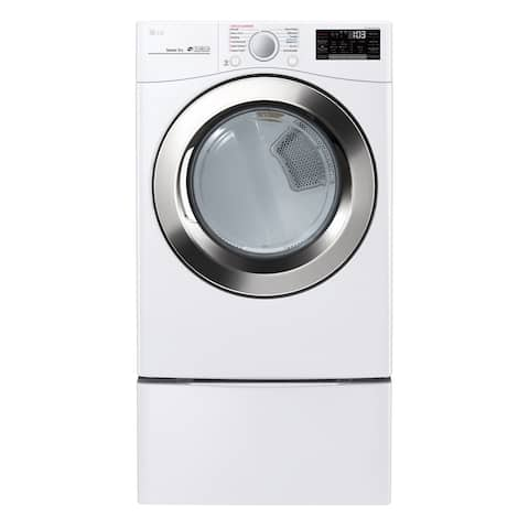 "LG DLEX3700W 7.4 cu. ft. Ultra Large Capacity Smart wi-fi Enabled SteamDryer Smooth White - 7'10"" x 10'10"""