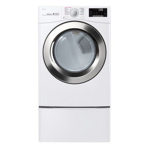 """LG DLEX3700W 7.4 cu. ft. Ultra Large Capacity Smart wi-fi Enabled SteamDryer Smooth White - 7'10"""" x 10'10"""""""