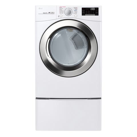 "LG DLGX3701W 7.4 cu. ft. Ultra Large Capacity Smart wi-fi Enabled SteamDryer Smooth White - 7'10"" x 10'10"""