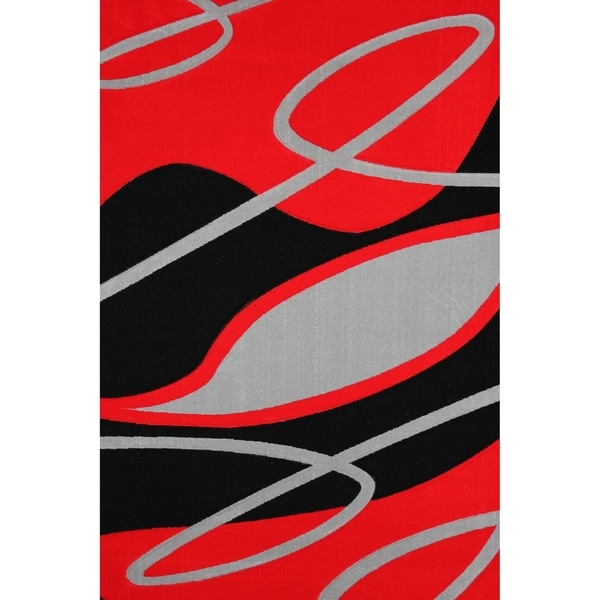 """Red and Gray 8x11 Modern Area Rug - 7'6"""" x 10'3"""""""