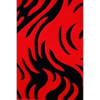 """8x11 Modern Area Rug Red and Black - 7'6"""" x 10'3"""""""