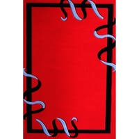 """8x11 Modern Area Rug Red and Silver - 7'6"""" x 10'3"""""""