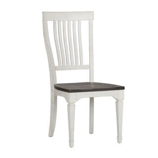 Allyson Park Wirebrushed White Slat Back Side Chair (Set of 2)