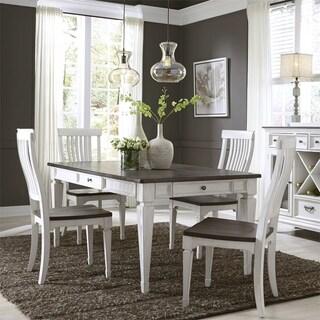 Allyson Park Wirebrushed White 5-piece Rectangular Table Set