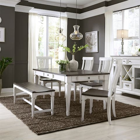 Allyson Park Wirebrushed White 6-piece Rectangular Table Set