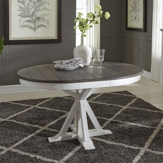 Allyson Park Wirebrushed White Single Pedestal Table - Charcoal