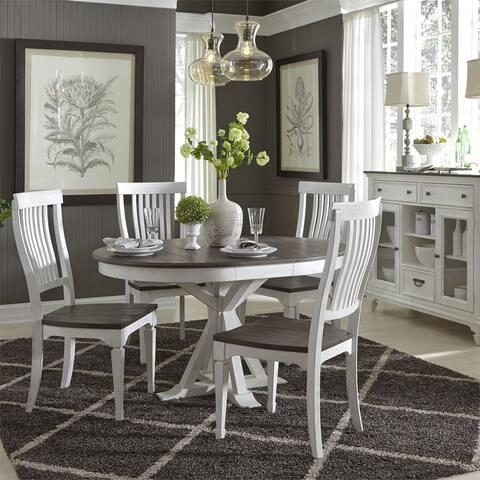 Allyson Park Wirebrushed White 5-piece Single Pedestal Table Set