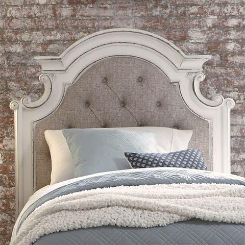 Magnolia Manor Antique White Full Upholstered Panel Headboard