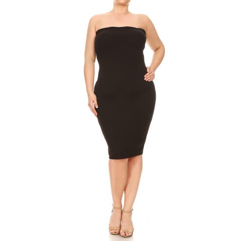 Women's Solid Basic Strapless Slim Bodycon Mid-Length Dress