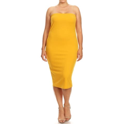 Women's Solid Basic Strapless Slim Bodycon Mid-Length Dress