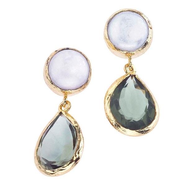 18k Gold Plate Pearl Green Quartz Earrings