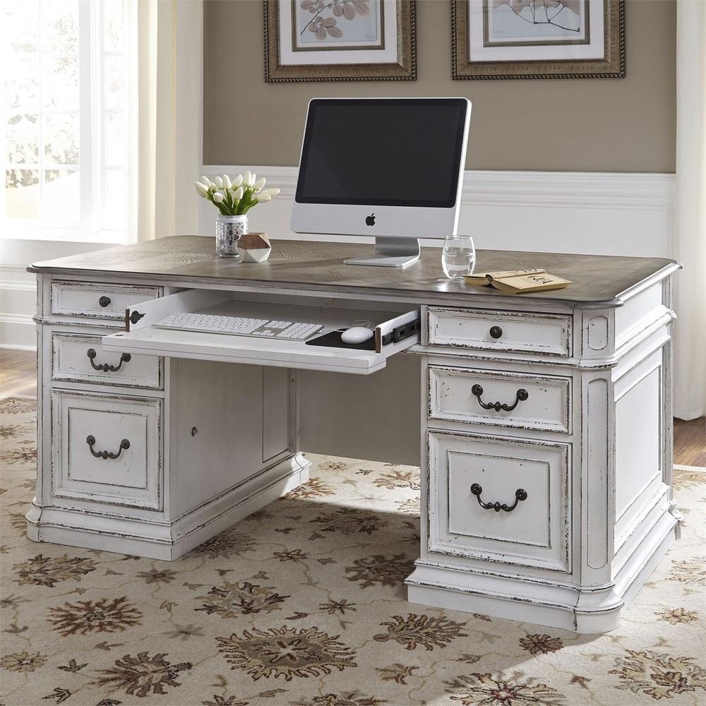 Magnolia Manor Antique White Birch Veneer Desk