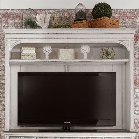 Liberty Antique White Entertainment Center with Piers - 73 inches in width