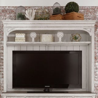 Magnolia Manor Antique White Entertainment Center with Piers - 73 inches in width