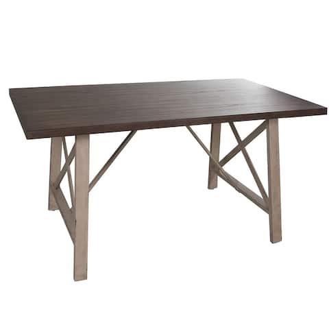 Carbon Loft Cauthen Distressed Metal Rectangular Leg Table - Brown