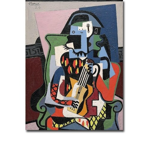 Harlequin Musician, 1924 by Pablo Picasso Gallery Wrapped Canvas Giclee Art (16 in x 12 in, Ready to Hang)